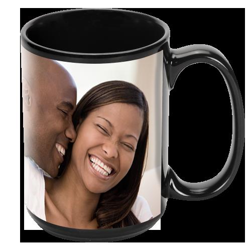 15oz Black Ceramic Photo Mug