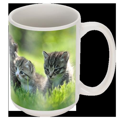 15oz White Ceramic Photo Mug