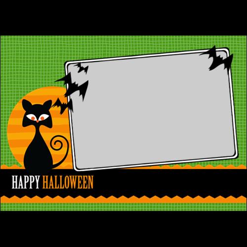 5x7 Happy Halloween Cat Green L