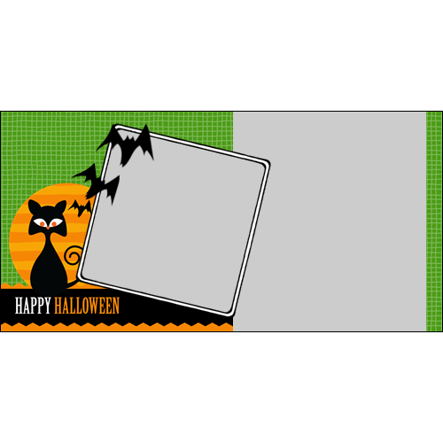 4x8 Happy Halloween Cat Green L