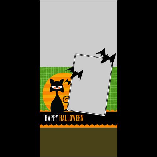 4x8 Happy Halloween Cat Green P